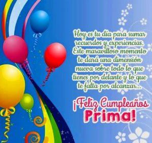 Feliz Cumpleaños Apreciada Prima