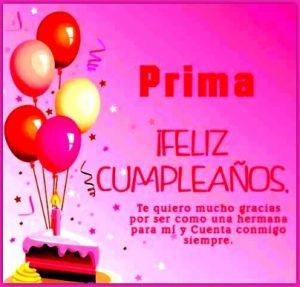 Feliz Cumpleaños Prima Hermana